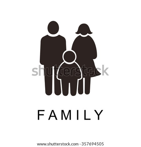 stick figures, family, father, mother, child black and white vector illustration - stock vector