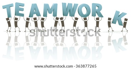 Stick figures holding the word Teamwork. A group of people holding some letters above their heads. The letters form the word Teamwork. Stick figures on white background. EPS10 file.
