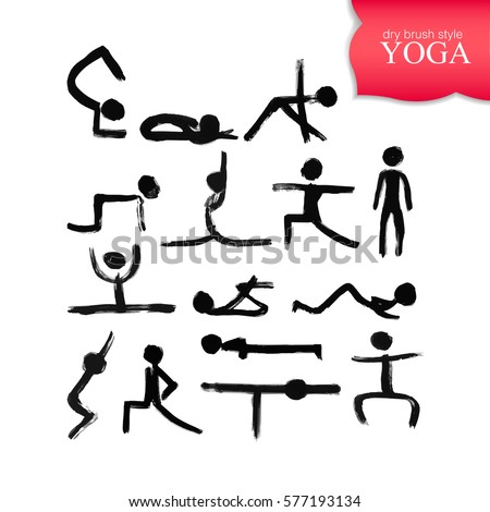 stick figures different yoga poses created stock vector