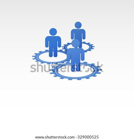 Stick figures of people in the gears. Interaction between employees - stock vector
