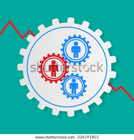 Stick figures of people in the gears, one red. The interaction between the employees. The problem employee. Fall growth of the company, firm - stock vector
