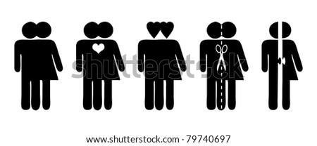Stick figures, vector symbols for relationship, love and separation - stock vector