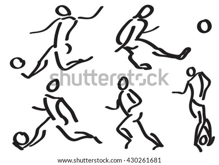 Stick football players - stock vector