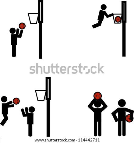 Stick man basketball - stock vector