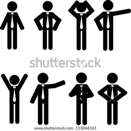 Stick man business icons vector - stock vector