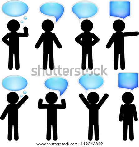 Stick man figure with bubbles for text - stock vector
