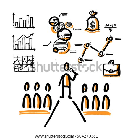 Stick man giving a presentation in business training lecture hall. Financial infographics. Hand drawn vector illustration isolated on white.