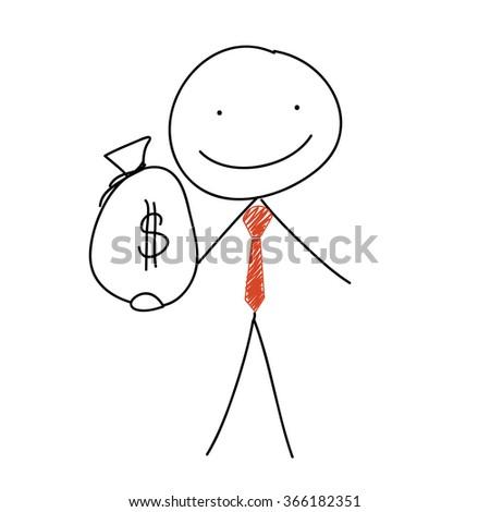 stick man holding a large cash bag - stock vector