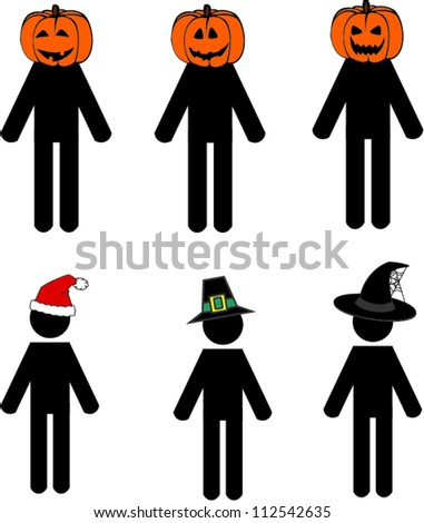 Stick man holidays edition - stock vector