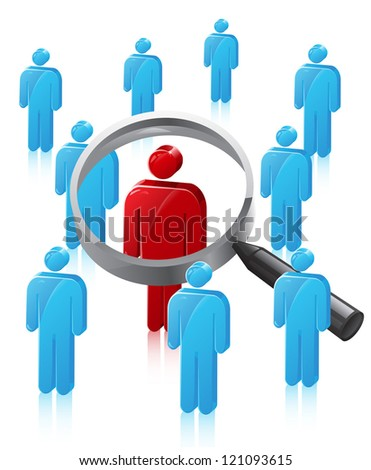 Stick Man Person Search - stock vector