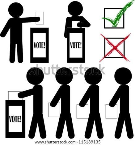 Stick man voting - stock vector