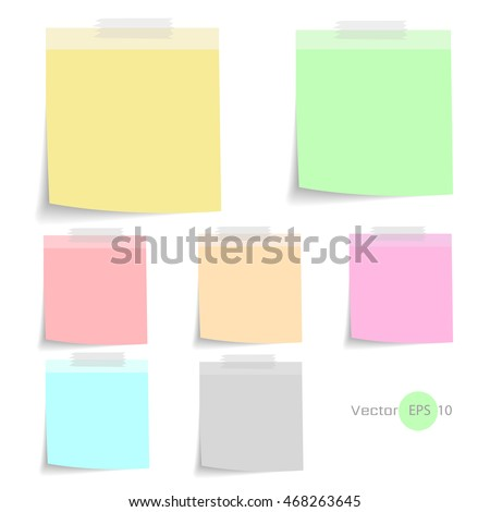 Stick note paper with Color set Isolate on white  background,Vector  Illustration