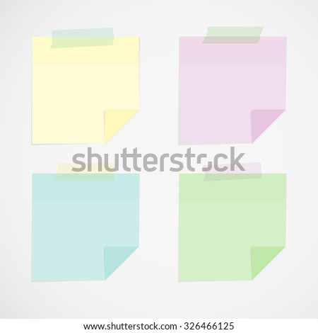 Stick notes with tape - stock vector