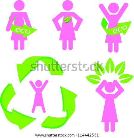 Stick woman figure with eco stuff - stock vector
