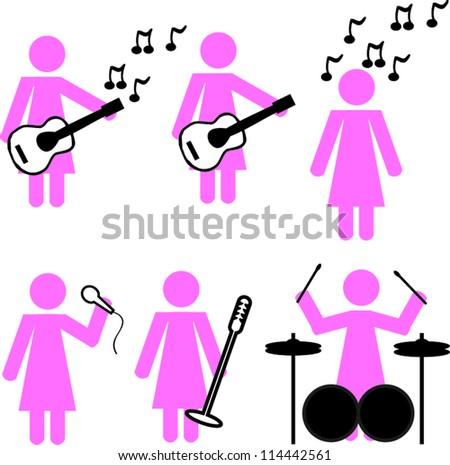 Stick woman music - stock vector