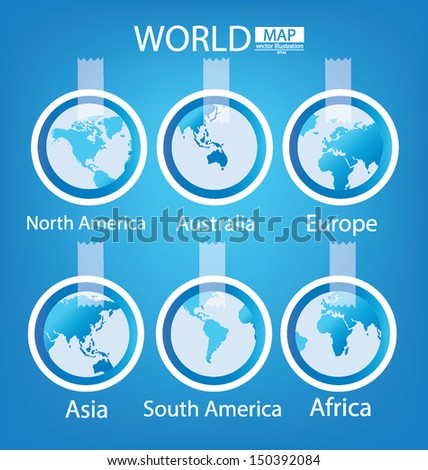 Sticker africa asia australia europe north stock vector 150392084 sticker africa asia australia europe north america south america gumiabroncs Images