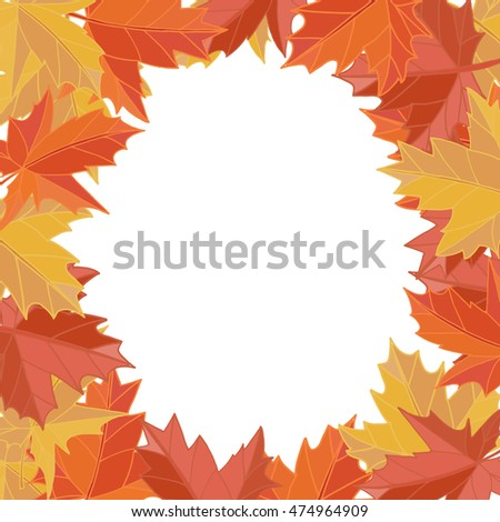 Sticker autumn style. Falling leaves vector. Greeting card vector. Space for text. Photo album