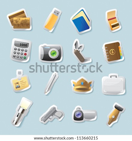 Sticker button set. Icons for personal belongings. Vector illustration. - stock vector