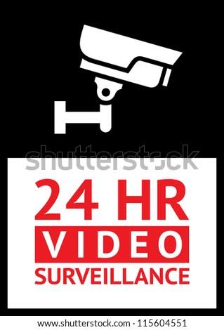 Sticker camera surveillance - stock vector