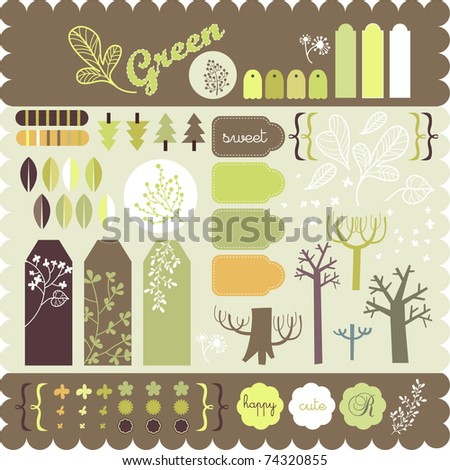 sticker collection of trees for scrapbook green series - stock vector