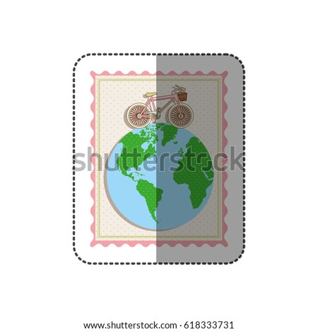 Sticker color pastel frame bicycle over stock vector 618333731 sticker color pastel frame with bicycle over the world map vector illustration gumiabroncs Images