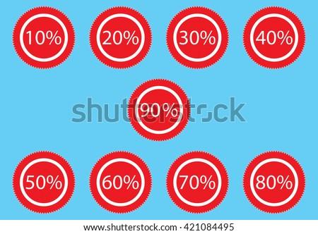 Sticker discount for sale. Label merchandise tag discount, promotion sticker discount. Vector flat design illustration - stock vector