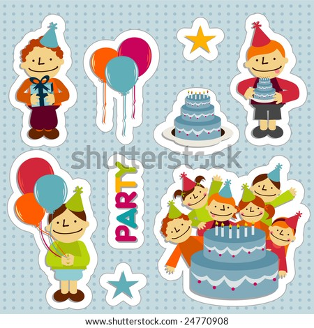 Sticker elements of birthday party with balloons, stars, girls, boys, cakes, flowers and gifts - stock vector