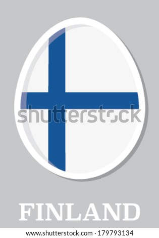 Sticker flag of finland in form of easter egg