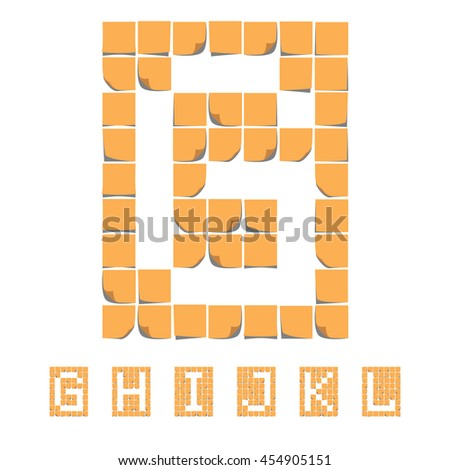 Sticker font alphabet. Sticky Notes. EPS 8 - stock vector