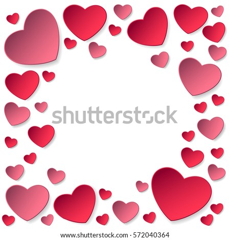 Sticker from red and pink paper hearts isolated on white background vector illustration for happy