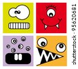 Sticker Fun Monsters - stock photo