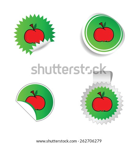 sticker green color with red apple vector - stock vector