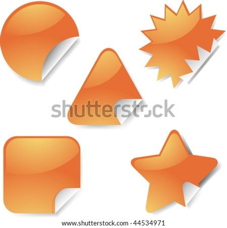 Sticker icon set, assorted blank geometric shapes - stock vector