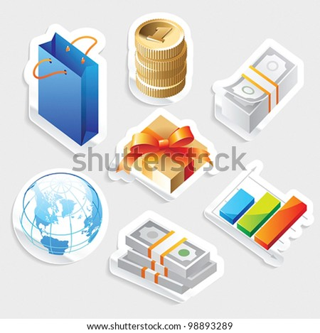 Sticker icon set for retail commerce.  Vector illustration. - stock vector