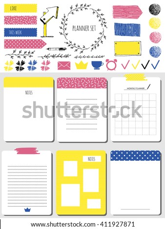 Sticker, icons, signs for organized your organizer. Monthly Planner. Template for notebooks,, scrapbooking, wrapping, wedding invitation, cards, poetry notes, diary. Modern style. - stock vector