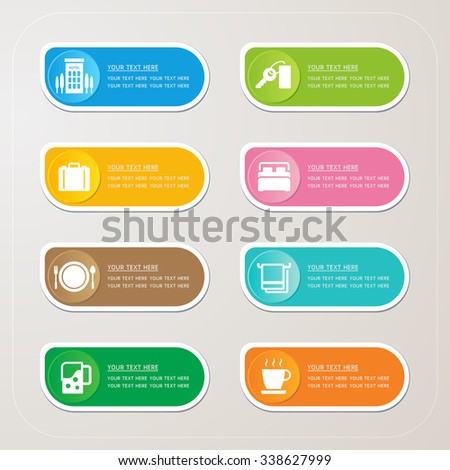 Sticker label with Hotel icons - stock vector