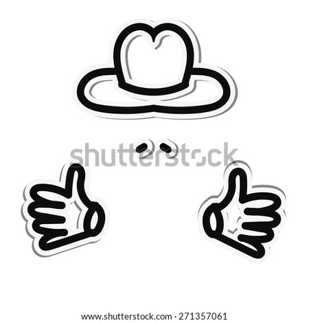 Sticker man in hat and with a mustache - stock vector