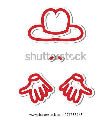 Sticker man with hands in a hat and with a mustache - stock vector