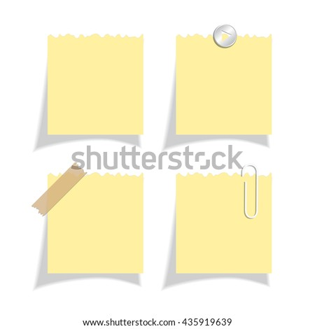 Sticker note papers set vector illustration isolated on white background
