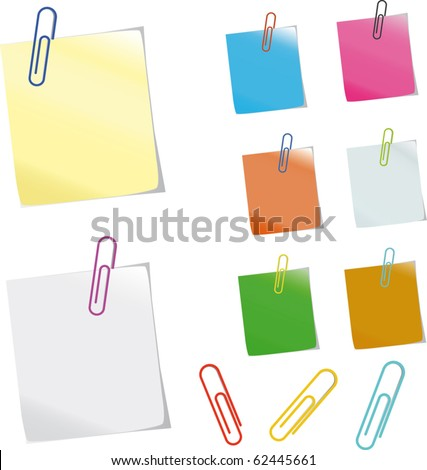 Sticker notes and  clips. Photo-realistic vector. - stock vector