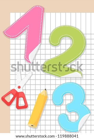 sticker numbers 1, 2 and 3 on paper with scissors and pencil - stock vector