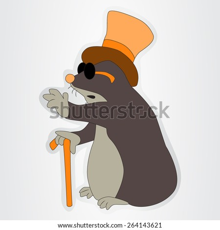 Sticker of the funny mole for the kids - stock vector