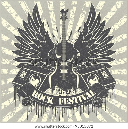 Sticker on the shirt the image of a guitar of wings of columns and tapes with the text rock festival - stock vector