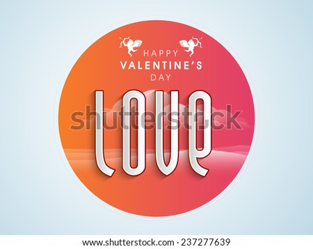Sticker or label with Love text on romantic evening background for Happy Valentine's Day celebration. - stock vector