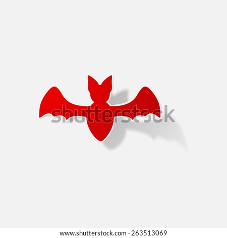 Sticker paper products realistic element design illustration bat - stock vector