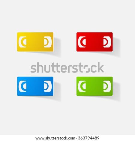 Sticker paper products realistic element design illustration cassette VCR - stock vector
