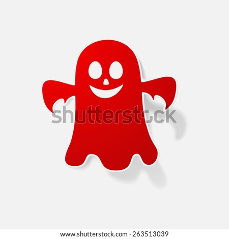 Sticker paper products realistic element design illustration ghost