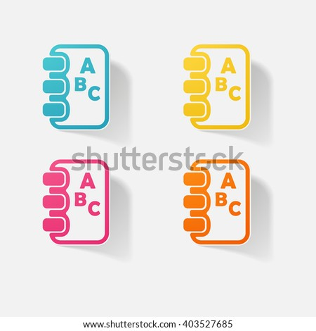Sticker paper products realistic element design illustration notebook - stock vector