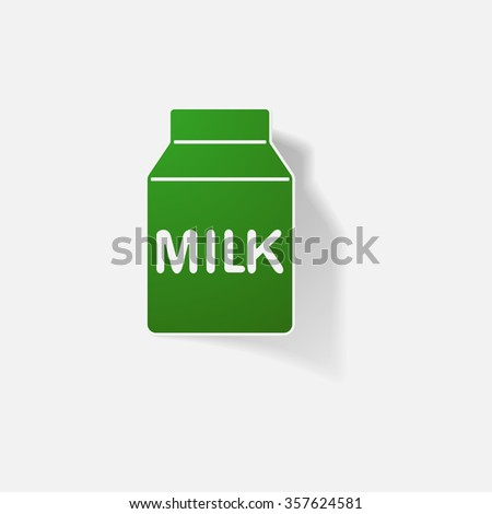 Sticker paper products realistic element design illustration pack of milk - stock vector