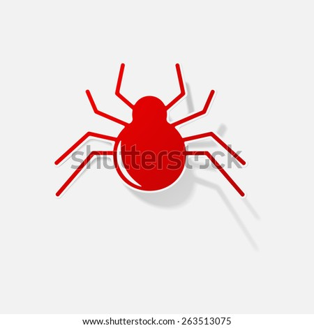Sticker paper products realistic element design illustration spider - stock vector